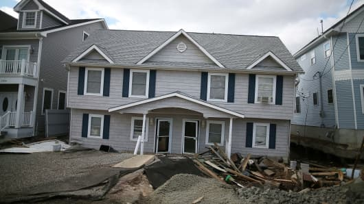 Out of the blue: a New Jersey home damaged by Superstorm Sandy