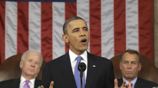 President Barack Obama gives the State of the Union address on February 12, 2013.
