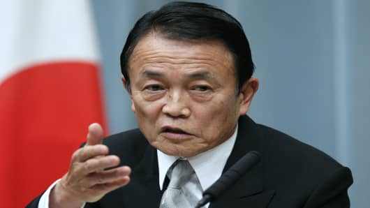 Japan's Finance Minister Taro Aso