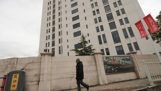 A building in a Shanghai suburb that is reportedly a center of cyberespionage.