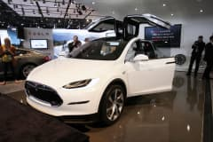 The Tesla Model X is shown at the 2013 North American International Auto Show media preview January 15, 2013 in Detroit, Michigan.