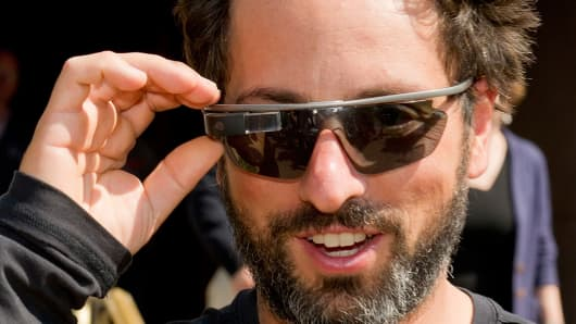 Sergey Brin, co-founder of Google Inc., wearing Project Glass internet glasses.