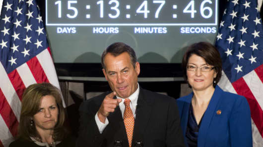 Rep. Lynn Jenkins., House Speaker John Boehner and Rep. Cathy McMorris Rodgers after the House Republican Conference meeting on Feb. 13.