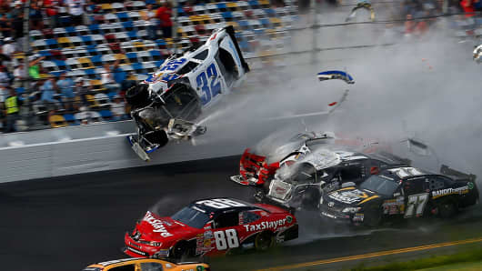 Six fans were seriously injured after this crash at the NASCAR Nationwide Series DRIVE4COPD 300 at Daytona International Speedway in Daytona Beach, Florida.