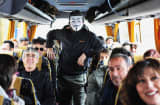 Supporters and activists from Livorno of the Movimento 5 Stelle, Five Star Movement go by bus to attend the last political rally of Beppe Grillo, leader of the Movimento 5 Stelle before the national election on February 22, 2013 in Rome, Italy.