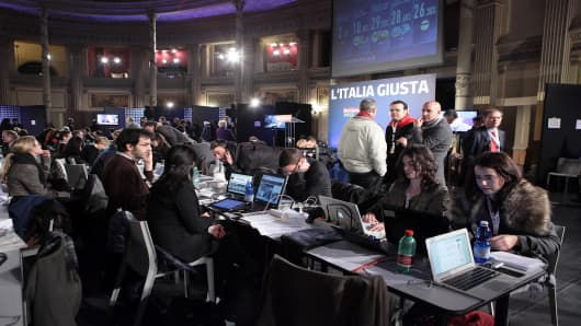 At the center-right Democrats headquarters on February 25, 2013 in Rome, Italy.