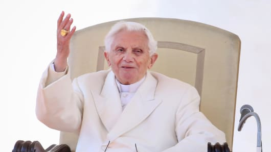 Pope Benedict XVI, on his retirement day Thursday.