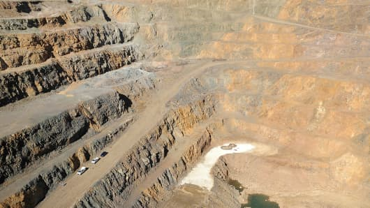 The open pit mine at Molycorp's rare earths mining and processing facility stands in Mountain Pass, California, U.S.