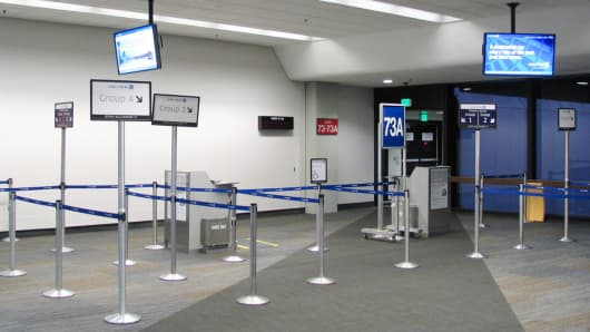 United Airlines boarding lanes at San Francisco International Airport.