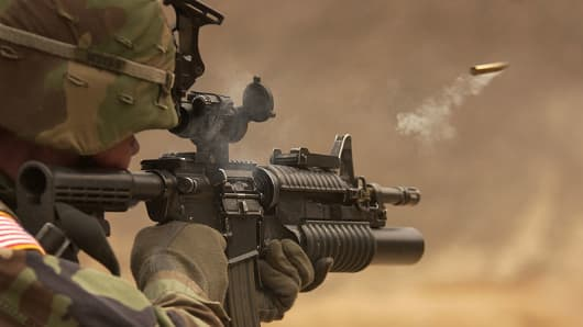 The M4A1 has the capability to fire fully automatic instead of three-round burst.