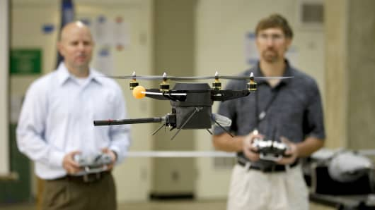 A prototype quadrotor unmanned aerial vehicle (UAV) in the Unmanned Systems Laboratory at the Naval Postgraduate School is tested on Septempter 30, 2011 in Monterey, California.