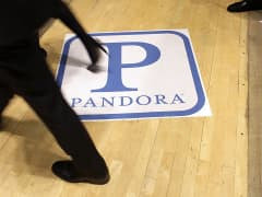 Pandora logo on floor of New York Stock Exchange