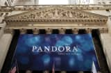 Pandora Media banner on the New York Stock Exchange.