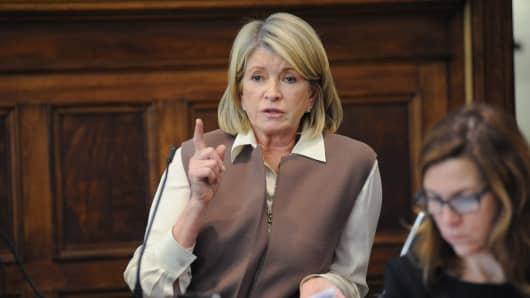 Martha Stewart, founder of Martha Stewart Living Omnimedia, testifies at State Supreme court in New York.