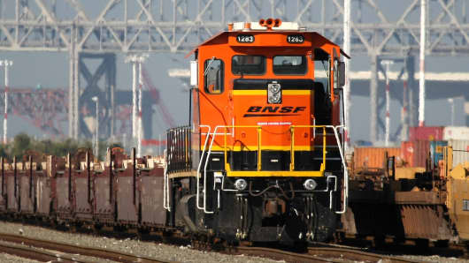 A Burlington Northern Santa Fe train sits idle at the Port of Oakland.