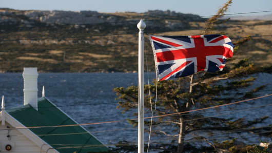 The Union Jack waves over Stanley, Falklands.