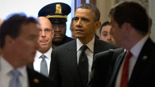 President Obama arrives Tuesday at the Capitol to meet with the Senate Democratic Caucus.
