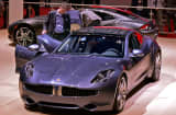 A Fisker electric car displayed at the Geneva Motor Show in March.