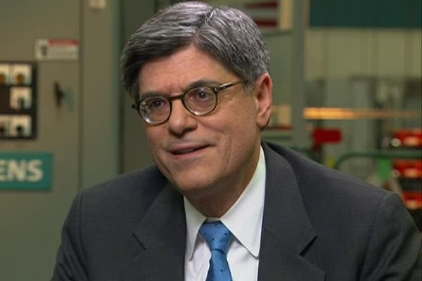 Treasury's Lew: 'Not Worried Now' About Stock 'Bubble'