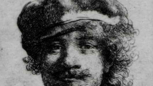 Self-portrait of Rembrandt stolen from the Isabella Stewart Gardner Museum in 1990.
