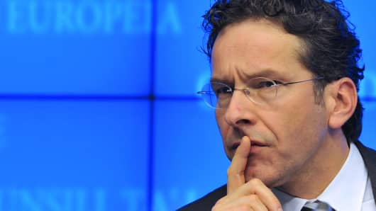 Newly elected Eurozone President and Dutch Finance Minister Jeroen Dijsselbloem attends an Eurogroup meeting.