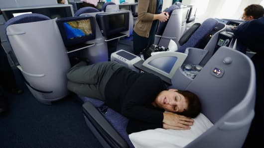 First Class seating on a United Airlines 787 Dreamliner.