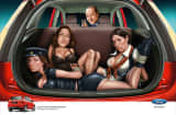 Silvio Berlusconi depicted in a Ford Figo ad.