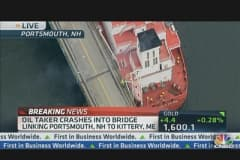 Oil Tanker Drifts Into Bridge