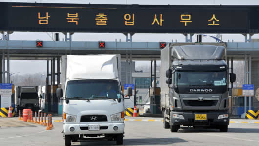 South Korean trucks return back after they were banned access to Kaesong joint industrial park in North Korea.