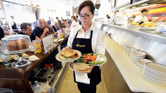 A waitress at Langer's Delicatessen in Los Angeles.