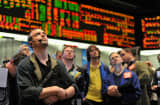 Traders in the 30-year bond options pit in Chicago.