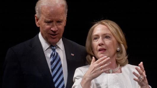 Hillary Clinton and Vice President Joe Biden