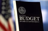 President Obama's budget proposal on display at the Government Printing Office.