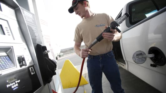 A man fills his truck with CNG at a Blu LNG filling station in Salt Lake City, Utah.