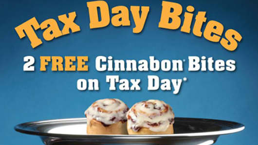 Cinnabon is one of many restaurants offering customers tax relief on April 15, 2013.