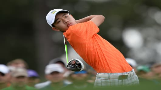 Tianlang Guan of China plays during the second round of the 77th Masters golf tournament at Augusta National Golf Club in Augusta, Georgia.
