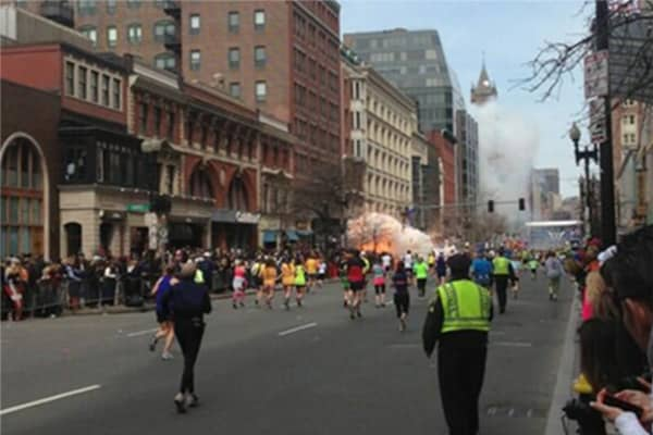 Two explosions at the Boston Marathon finish line.