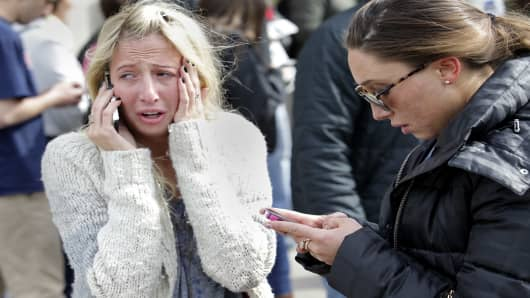 Boston, April 15: Women desperate to hear from loved ones