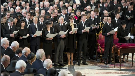 Prime Minister David Cameron and his wife Samantha and former PM's John Major, Tony Blair and Gordon Brown and their spouses Cherie, Norma and Sarah and Prince Phillip, Duke of Edinburgh and Queen Elizabeth II at the funeral of Baroness Margaret Thatcher.