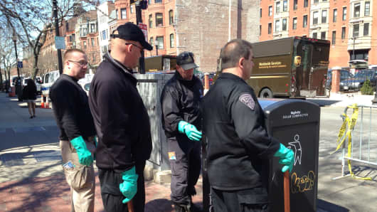 FBI and investigators continue to search the area for more bomb devices following the Boston Marathon bombings.
