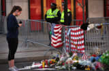A street memorial near the scene of twin bombings at the Boston Marathon.