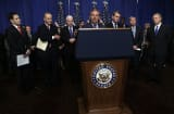 "Senators, dubbed the ""Gang of Eight,"" hold a news conference on immigration legislation."