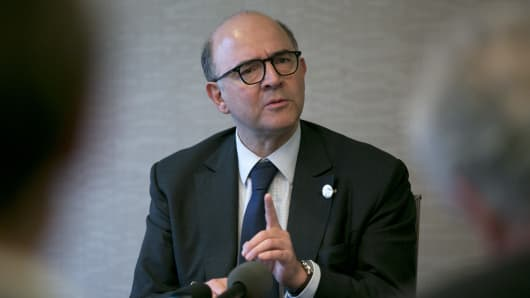 Pierre Moscovici, France's finance minister, speaks in Washington, D.C., U.S.