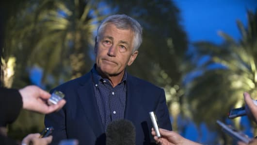 U.S. Secretary of Defense Chuck Hagel speaks with reporters after reading a statement on chemical weapon use in Syria.