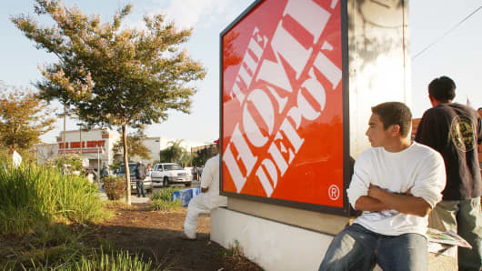 Day laborers wait near a Home Depot h