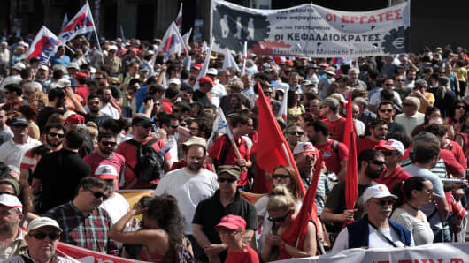 Protesters in Athens on May 1, 2013