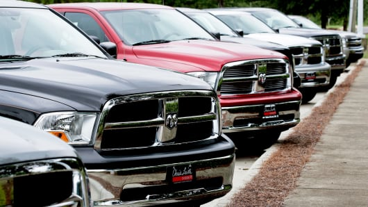 Chrysler RAM pick-up trucks sit on display at a dealership in Wake Forest, North Carolina, U.S.