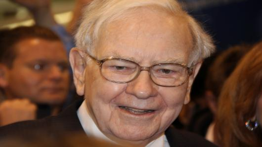 Warren Buffett at the Berkshire Hathaway Annual Shareholder's Meeting in Omaha, Nebraska.