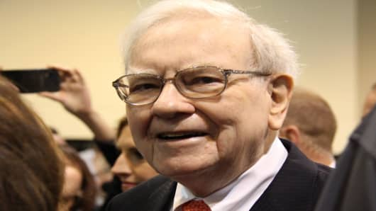Warren Buffett at the Berkshire Hathaway Annual Shareholder's Meeting in Omaha, Nebraska.