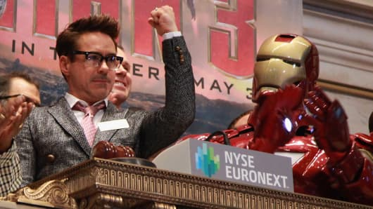 Robert Downey Jr. rings the opening bell at the New York Stock Exchange as Iron Man 3 debuts in New York City.